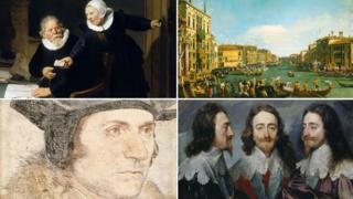 Clockwise from top left: Rembrandt's The Shipbuilder and his Wife; Canaletto's A Regatta on the Grand Canal; Sir Anthony van Dyck's Charles I; Hans Holbein's Sir Thomas More