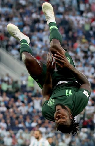 Nigerian footballer Victor Moses doing a somersault in Russia - Tuesday 26 June 2018