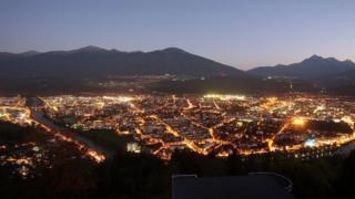 General view of the City of Innsbruck, seen during dusk on October 15, 2007 in Innsbruck, Austria.