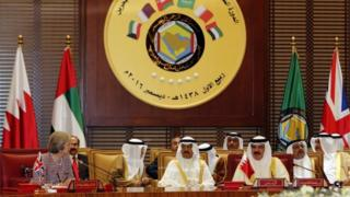 Theresa May was the first woman to be invited to the Gulf Cooperation Council summit of leaders from Saudi Arabia, Kuwait, the United Arab Emirates, Oman, Qatar and Bahrain
