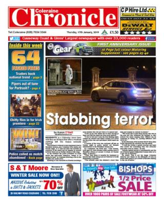 Front page of the Coleraine Chronicle
