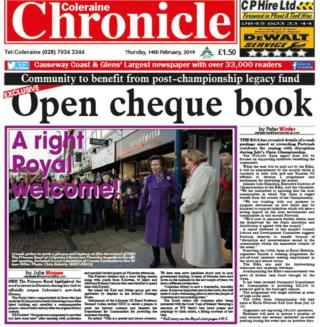 Coleraine Chronicle front page 14 February 2019