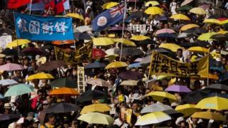 Protesters march through the streets of Hong Kong (01 July 2015)