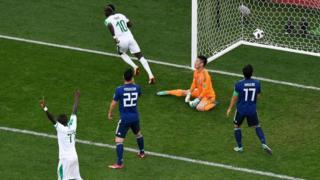 Sadio Mané sur le premier du Sénégal à la 11e minute.