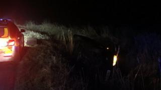 Car in ditch near South Milford