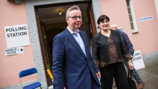 Michael Gove and his wife Sarah Vine leave the polling station on the day of the EU referendum