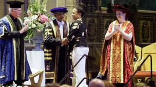 Novlet Nicholson collecting her daughter's degree