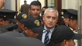 Former Guatemalan President Perez attends a hearing at the Supreme Court of Justice in Guatemala City