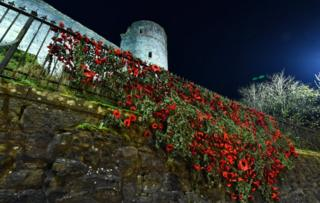 Knitted poppies at Strathaven Castle