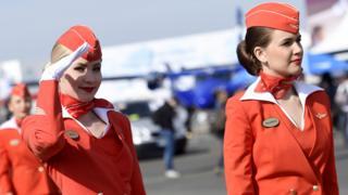 Aeroflot stewardesses in Paris, 16 Jun 15