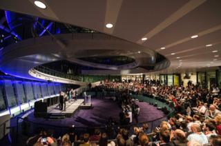 Sadiq Khan of the Labour Party makes an acceptance speech as the new mayor of London at City Hall