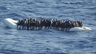 Italian Navy picture shows boat carrying migrants from north Africa rescued off the coast of Lampedusa, Italy. 16 March 2016