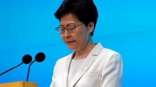 Hong Kong Chief Executive Carrie Lam speaks at news conference