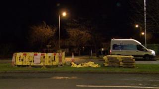Gas van near roadworks