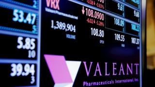 Trading screen shows Valeant share price
