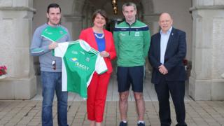 Phil Flanagan, vice chairman of Fermanagh GAA County Board, Arlene Foster DUP leader, Rory Gallagher Senior Manager of Fermanagh GAA football team, and Tom Boyle secretary, Fermanagh GAA County Board