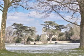 A light covering of snow at Blenheim Palace