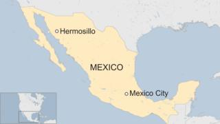 A map showing Hermosillo in Mexico's Sonora state