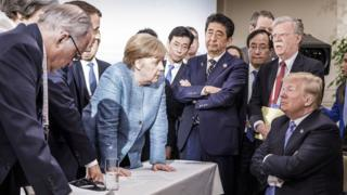 Donald Trump versus G7 leaders.