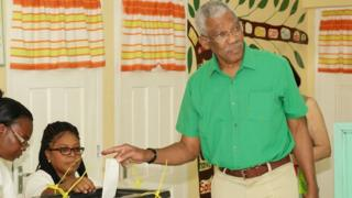 David Granger casts his vote in Pearl, Guyana, on 2 March, 2020.