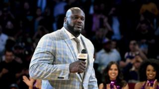 "Former Los Angeles Lakers center Shaquille O""Neal speaks during a NBA game."