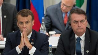Emmanuel Macron e Jair Bolsonaro em reunião do G20