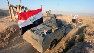 Iraqi military forces advance into central Kirkuk city, northern Iraq, 16 October 2017