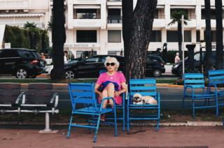 Woman and dog in Cannes