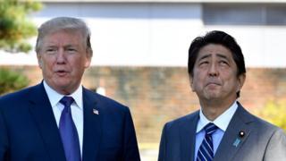 Donald Trump, presidente de EE.UU. y Shinzo Abe, primer ministro de Japón.