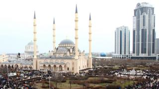 View of Grozny with central mosque, Jan 2016 file pic