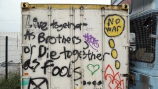 Graffiti in the Calais camp