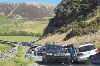 environment Congestion on Lake District road