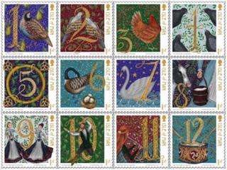 Twelve Days of Christmas Manx stamps