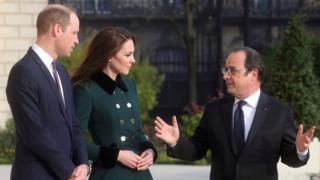 Принц Уильям и и герцогиня Кембриджская с Франсуа Олландом