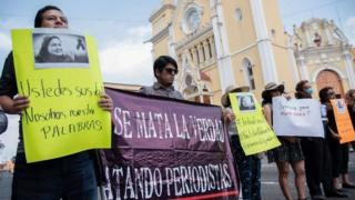Journalists demonstrate following the murder of Maria Elena Ferral in March