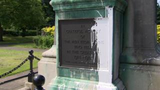 Paint on the war memorial in Larne