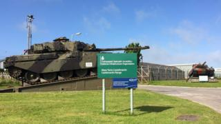 Two tanks at the entrance to the Castlemartin range