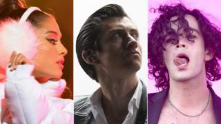 Ariana Grande, Alex Turner of Arctic Monkeys and Matty Healy of The 1975