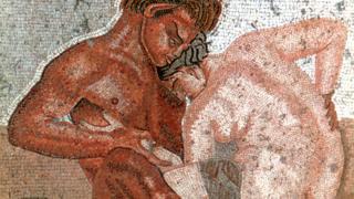 Ilustração na parede da Casa do Fauno, na cidade de Pompeya