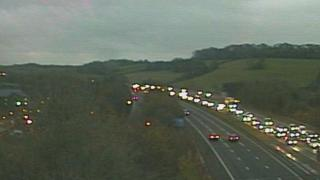 Traffic slow on the M4 at Pencoed