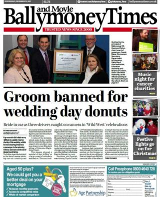 front page of the Ballymoney and Moyles Time, Wednesday 13 December 2017