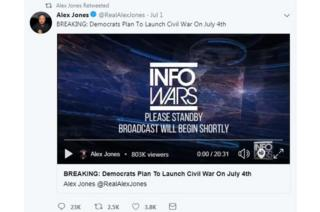 "A screengrab of a video tweeted by Alex Jones with the words, ""BREAKING: Democrats plan to launch civil war on July 4th"""