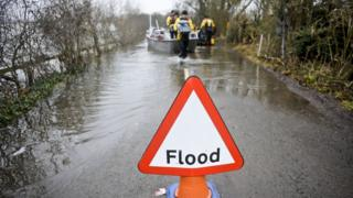 Flood sign in South Yorkshire