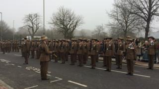 10 The Queen's Own Gurkha Logistic Regiment assembled for the parade in Aldershot