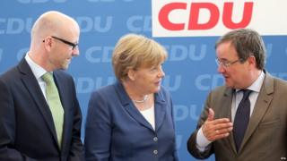 Chancellor Merkel with CDU colleagues, 17 Aug 15
