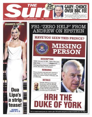 Tuesday's Sun front page