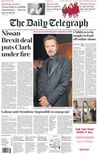 Daily Telegraph front page, 5/2/19
