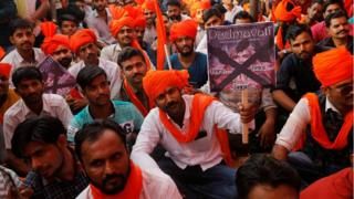"Members of Rajput community attend a protest against the release of the upcoming Bollywood movie ""Padmavat"" in Mumbai"