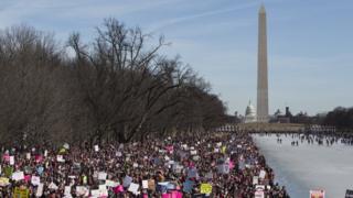 Marcha de Mujeres en Washington ante el Capitolio.