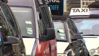 Taxis queued in Cardiff city centre